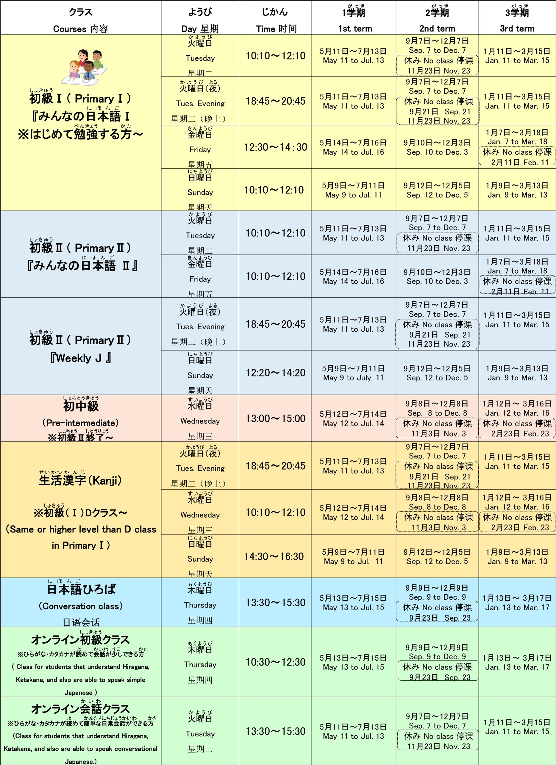 日程表(2021年4月〜2022年3月)
